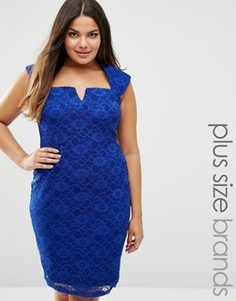 Кружевное платье-футляр Goddiva Plus - Синий