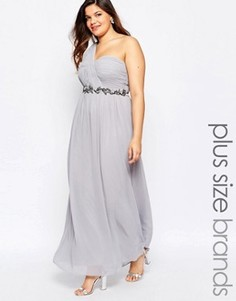 Платье макси размера плюс на одно плечо Little Mistress Plus - Серый
