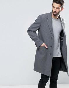 Светло-серое меланжевое пальто с добавлением шерсти ASOS - Серый