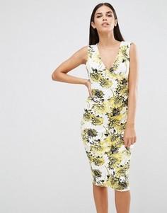 Платье-футляр без рукавов с цветочным принтом Vesper - Желтый