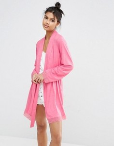 Халат с длинными рукавами и кружевной отделкой ASOS - Розовый
