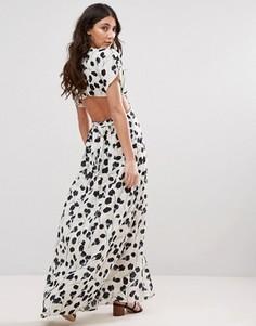 Платье макси с тюльпанами и вырезом d.RA - Белый