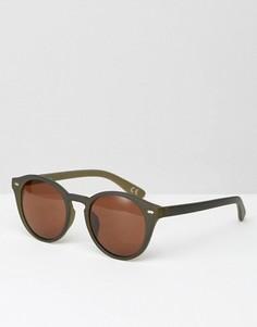 Круглые солнцезащитные очки в матовой оливковой оправе ASOS - Зеленый