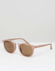 Розовые круглые солнцезащитные очки с металлической переносицей ASOS - Розовый