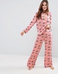 Атласные пижамные брюки с бабочками ASOS PREMIUM - Мульти