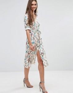 Платье-рубашка с цветочным принтом и рукавами 3/4 Darling - Кремовый