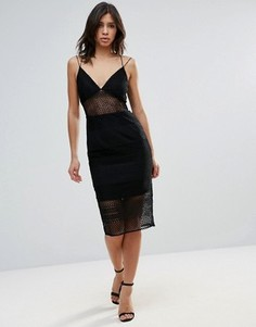 Кружевное платье миди с прозрачными вставками Talulah - Черный