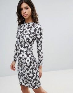 Платье с длинными рукавами и принтом Talulah Brooklyn - Темно-синий