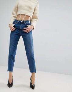 Джинсы в винтажном стиле с асимметричным низом ASOS ORIGINAL Hailee - Синий