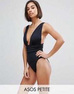Слитный купальник с присборенным поясом ASOS PETITE - Черный