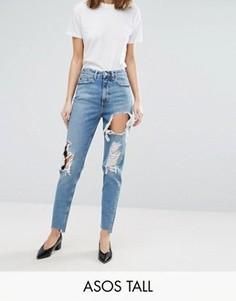 Выбеленные джинсы в винтажном стиле с прорехами ASOS TALL ORIGINAL - Синий