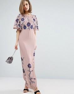 Платье макси с вышивкой ASOS PREMIUM - Фиолетовый