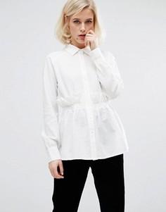 Фактурная рубашка с рюшами на талии Lost Ink - Белый