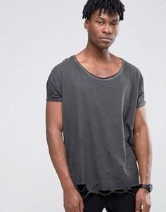 Серая рваная oversize-футболка с отворотами на рукавах и глубоким вырезом ASOS - Серый