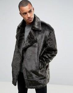 Черная байкерская куртка из искусственного меха ASOS - Черный