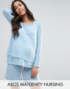Меланжевые пижамные шорты и лонгслив для кормления ASOS Maternity - Синий