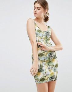Облегающее платье с цветочным принтом Jasmine - Зеленый