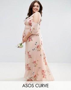 Платье макси на одно плечо с цветочным принтом ASOS CURVE WEDDING - Мульти