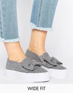Кроссовки для широкой стопы с бантом ASOS DISCOVER - Серый