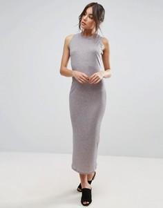 Облегающее платье миди в рубчик Unique 21 - Серый