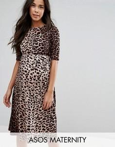 Платье миди с принтом леопарда ASOS Maternity - Мульти