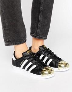 Черные кроссовки с золотистым носком adidas Originals Superstar - Черный