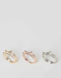 3 кольца с отделкой Nylon - Золотой