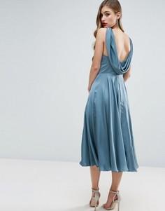 Платье миди с драпированной спинкой ASOS WEDDING Premium - Синий