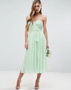 Платье миди на бретельках со сборками и рюшами спереди ASOS WEDDING - Зеленый