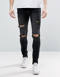 Черные джинсы скинни с рваной отделкой Liquor & Poker - Черный