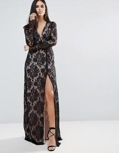 Кружевное платье макси с запахом The Jetset Diaries Pizzo - Черный