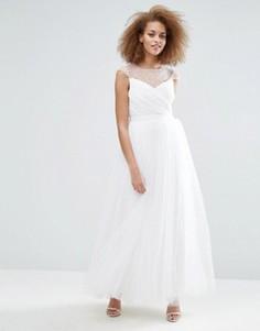 Платье макси с отделкой бисером Little Mistress - Белый