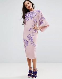 Платье-кимоно миди с вышивкой ASOS - Бежевый