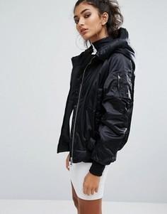 Атласная oversize-куртка adidas Originals EQT - Черный