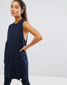 Темно-синяя длинная майка Adidas Xbyo - Синий