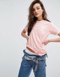 Розовая футболка бойфренда с тремя полосками adidas Originals - Розовый
