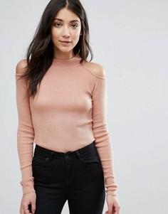 Джемпер в рубчик с открытыми плечами Brave Soul - Розовый