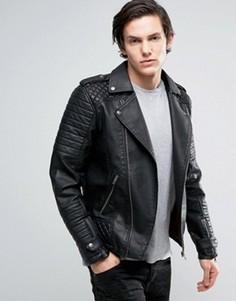 Байкерская куртка из искусственной кожи Jack & Jones Originals - Черный