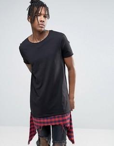 Длинная футболка с рваной вставкой в клетку на нижней кромке ASOS - Черный
