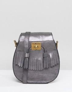 Замшевая сумка на плечо с кисточками Dr Martens - Серебряный