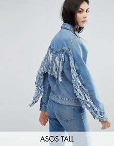 Синяя выбеленная джинсовая куртка с бахромой на спине ASOS TALL - Синий