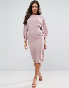 Платье миди с широкими рукавами ASOS - Розовый