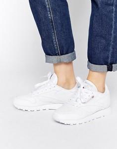 Классические белые кожаные кроссовки Reebok - Белый
