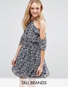 Платье с оборками и мелким цветочным принтом Influence Tall - Темно-синий