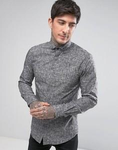 Строгая рубашка скинни со штриховкой Noose & Monkey - Серый