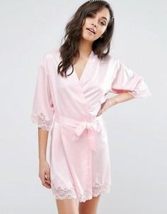 Халат-кимоно с кружевной отделкой Boux Avenue - Розовый
