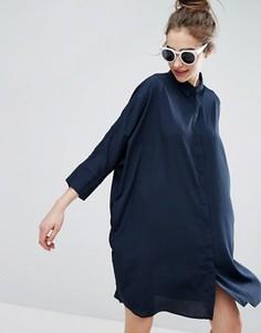 Свободное платье-рубашка Monki - Черный