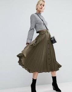 Плиссированная юбка миди на пуговицах ASOS - Зеленый