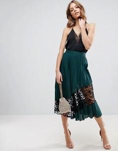 Плиссированная юбка миди с кружевной вставкой ASOS - Зеленый