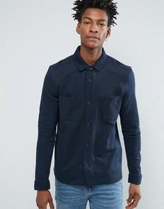 Рубашка классического кроя из хлопкового трикотажа Selected Homme - Синий